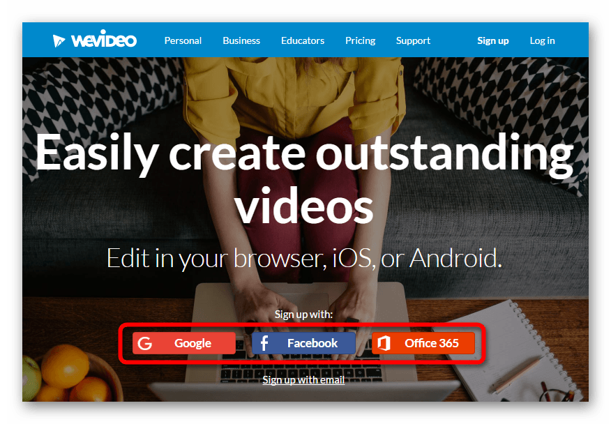 Главная страница сервиса WeVideo