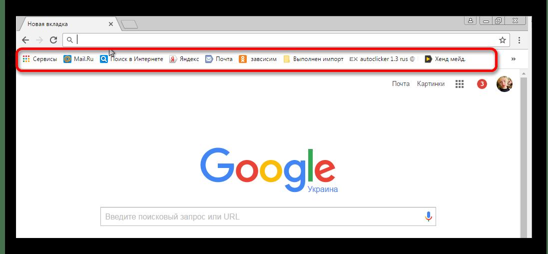Панель закладок в Гугл Хром