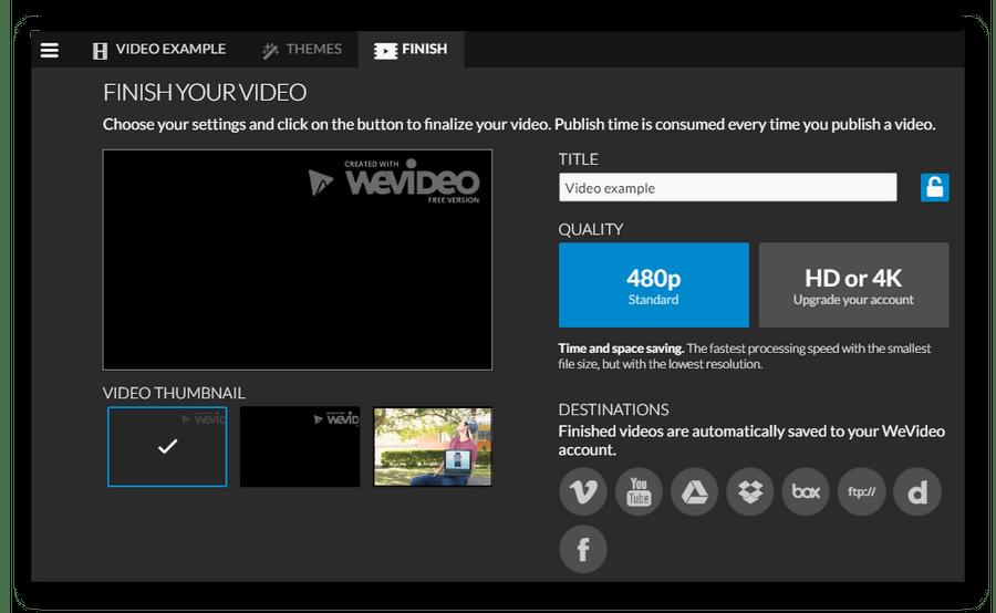 Подготовка видео к экспору в WeVideo