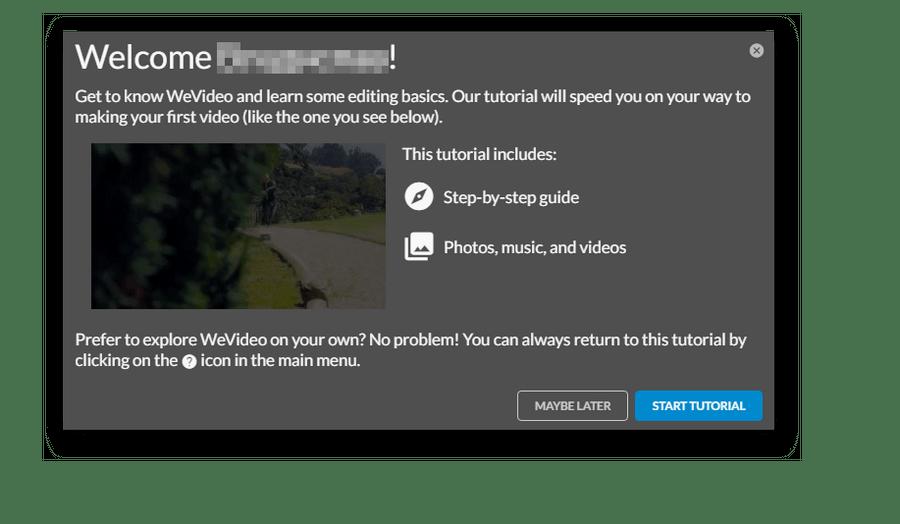 Приветственное окно в WeVideo