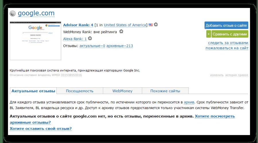 Страница сайта в Advisor