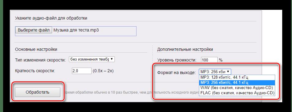 Выбор формата для скачивания и кнопка обработки