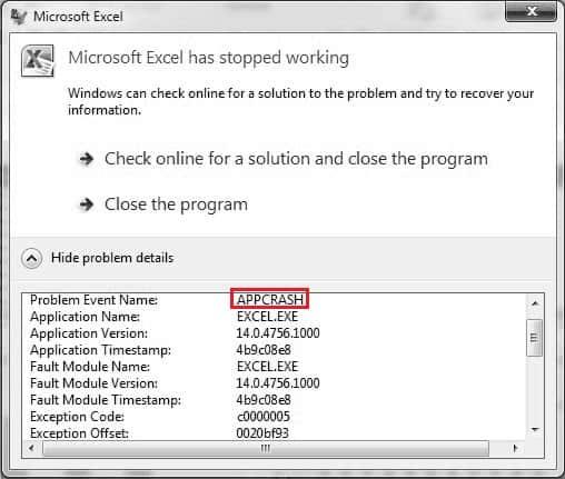 Пример ошибки AppCrash