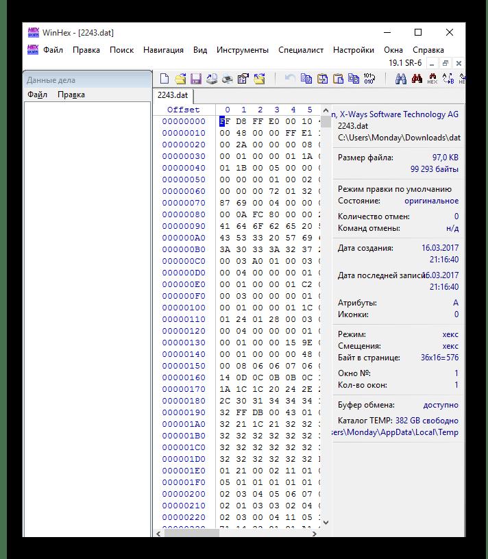 Файл открытый в WinHex