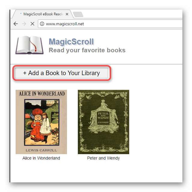 Добавление книг в библиотеку MagicScroll eBook Reader в Google Chrome