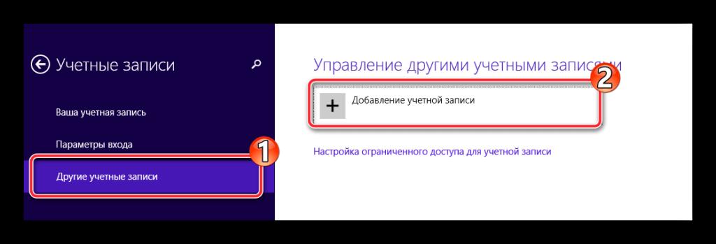 Добавление учётной записи в Windows 8