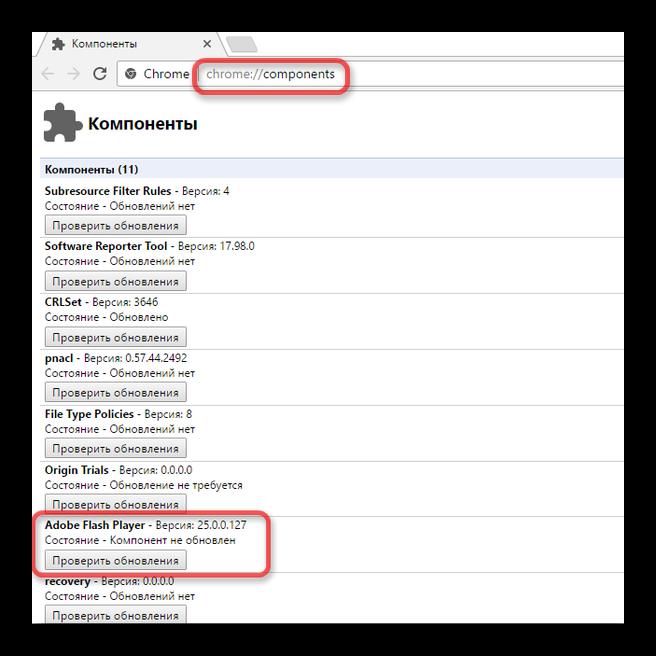 Компоненты - Google Chrome
