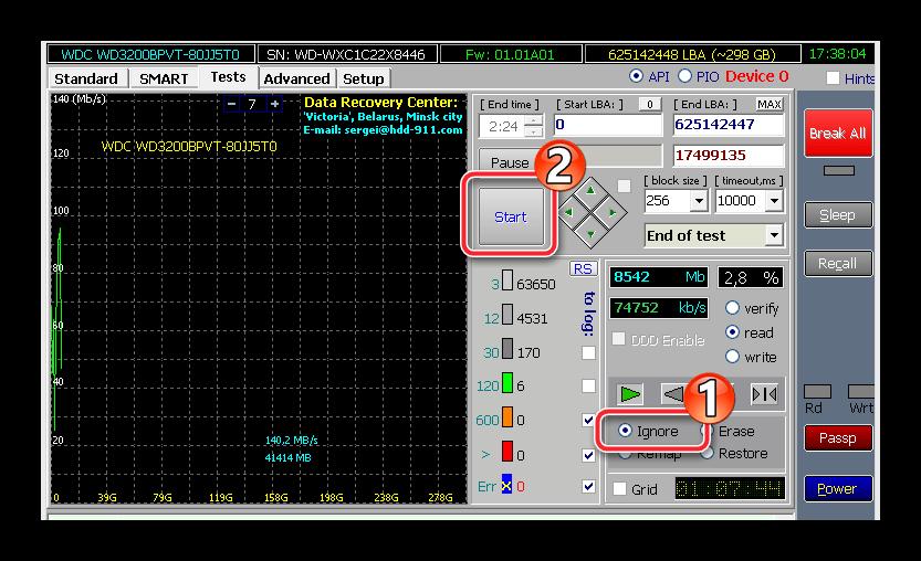 Проверка винчестера на битые сектора в программе Victoria