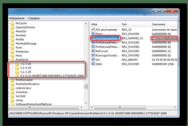 Раздел реестра профиля в Windows
