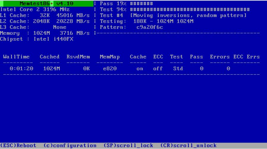 Тестирование оперативной памяти в MemTest86