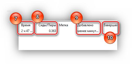 данные о загрузке торрент - файла время до завершения - время завершения
