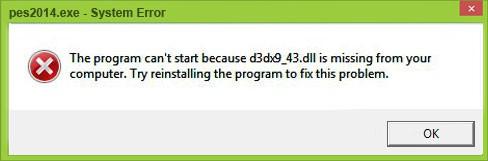 Текст сообщения, которое выскакивает при ошибке с d3dx9_43dll