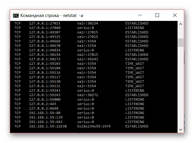 Проверка портов командой netstat
