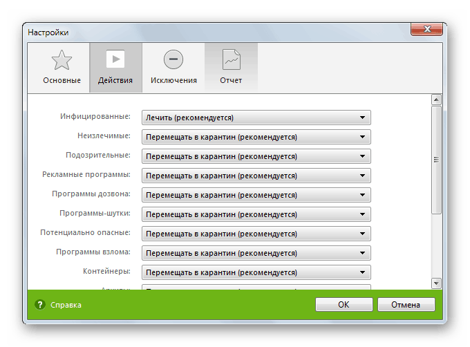 Различные варианты действий с подозрительными файлами в Dr.Web CureIt!