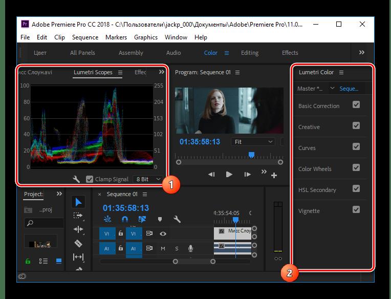 Окно работы с цветом в Adobe Premier Pro CC