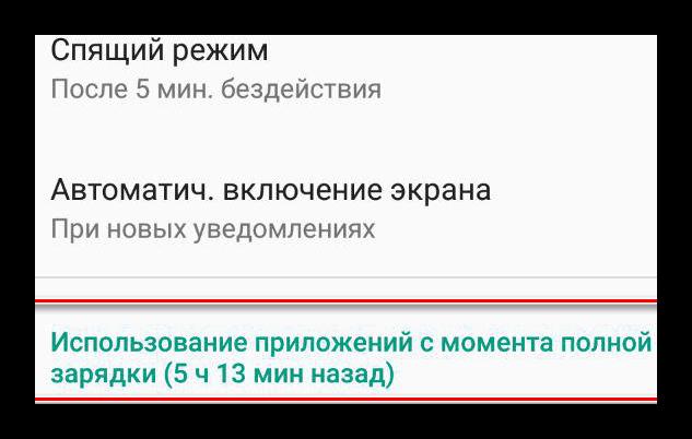 Использование батареи определенными приложениями в смартфонах Android