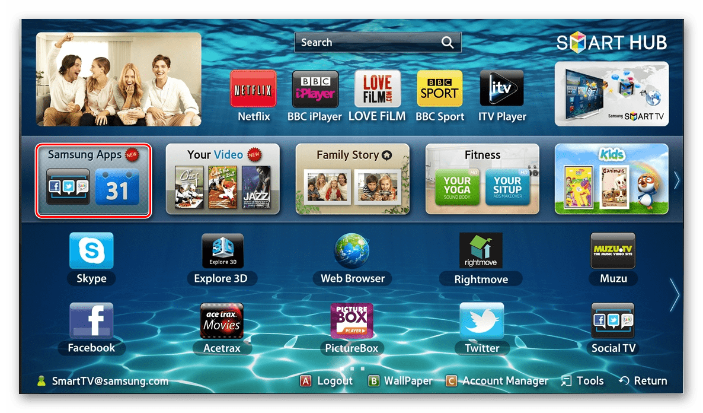 Настройка в телевизоре Samsung Allshare