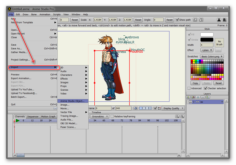 Импорт файлов в Anime Studio Pro