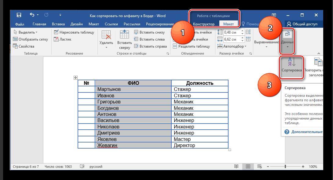 Пункт Сортировка в Работе с таблицами в Microsoft Word