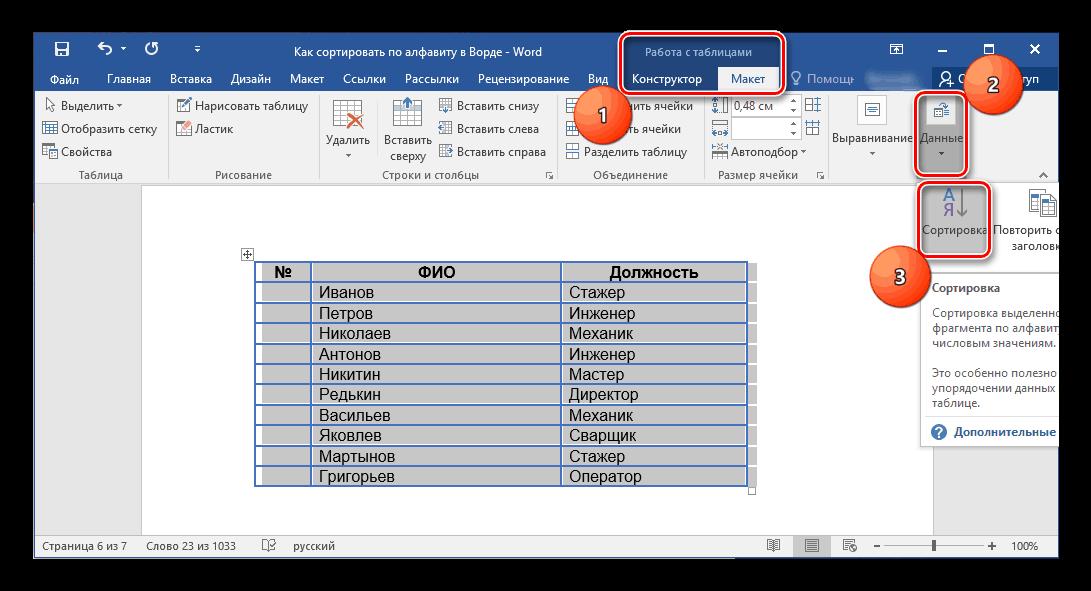 Сортировка в Работе с таблицами в Microsoft Word