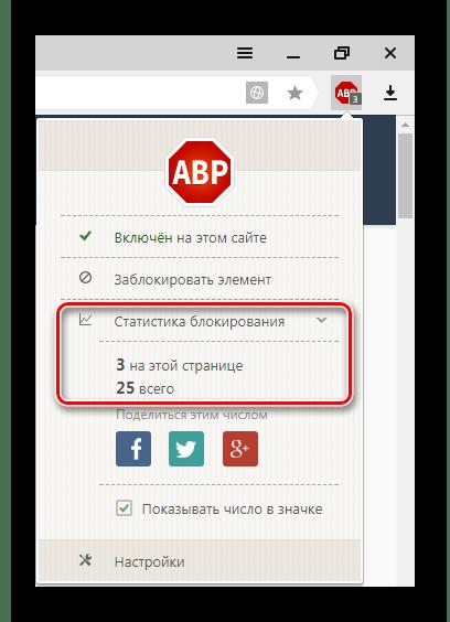 Статистика по блокировке в Адблок Плюс для Яндекс.Браузер