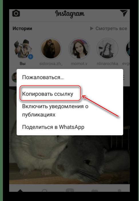 Кнопка Копировать ссылку в Instagram